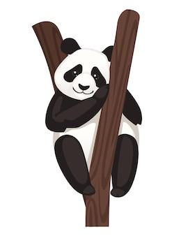 Śliczna duża panda siedzi na drzewie v kreskówka zwierzęcy projekt płaski wektor ilustracja