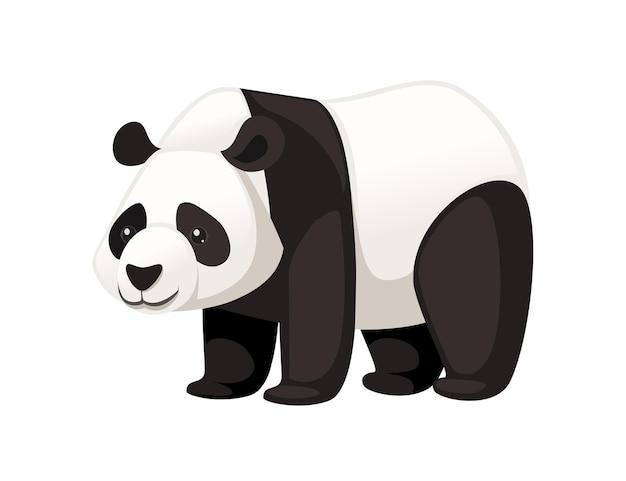 Śliczna duża panda stoi na podłodze kreskówka projekt płaski wektor ilustracja