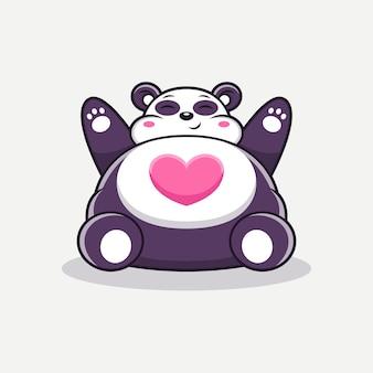 Śliczna duża panda z kreskówką miłości. wektor zwierząt