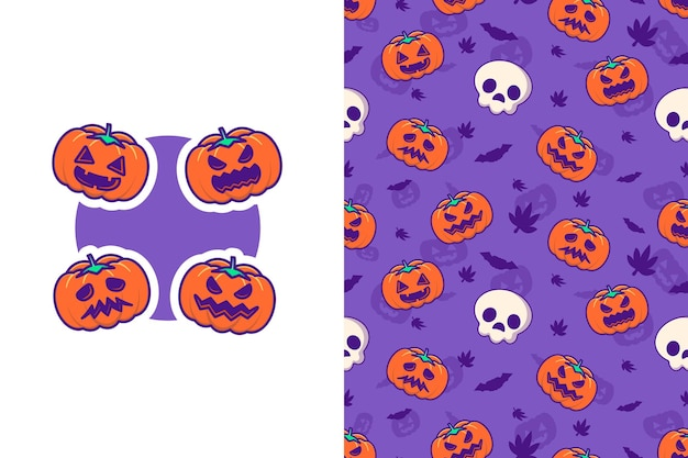 Śliczna dynia i szczęśliwe halloween z bezszwowym wzorem