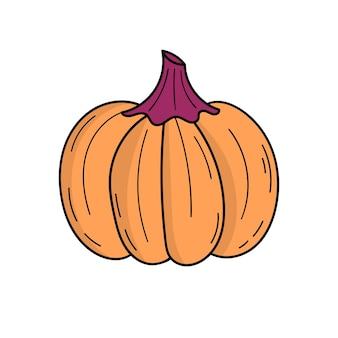Śliczna dynia. jesienne zbiory. halloweenowy wystrój. ilustracja w stylu doodle