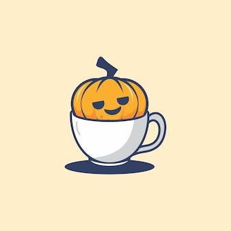 Śliczna dynia w filiżance na halloweenową ilustrację