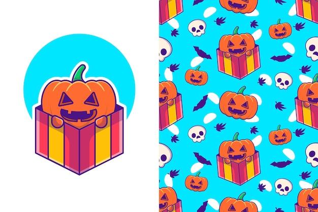 Śliczna dynia w pudełku prezentowym wesołego halloween z bezszwowym wzorem