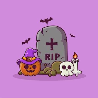 Śliczna dynia z nagrobkami, czaszkami i świecą w tle halloween