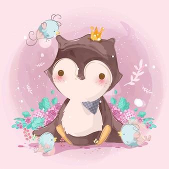 Śliczna dziecięca ilustracja zwierzęta