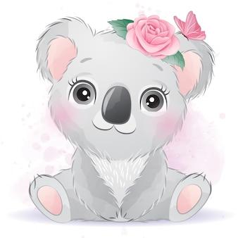 Śliczna dziecięca koala z kwiatowym wzorem