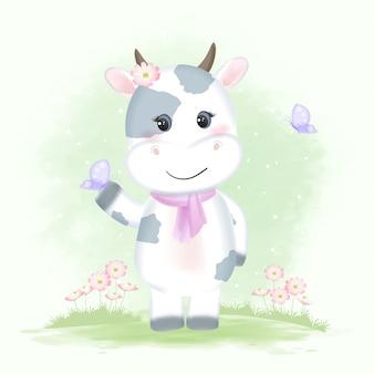 Śliczna dziecięca krowa z motylami i kosmos kwitnie