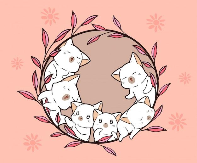 Śliczna dziecko kotów kreskówka w wiosna dniu