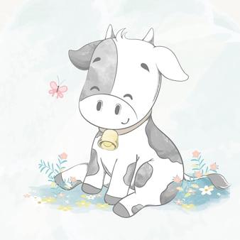 Śliczna dziecko krowy sztuka z motylia wodnego koloru kreskówki ręka rysującą ilustracją