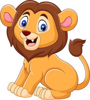 Śliczna dziecko lwa kreskówka