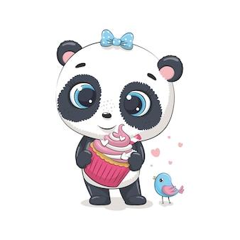 Śliczna dziecko panda z babeczką i ptakiem. ilustracja na chrzciny, kartkę z życzeniami, zaproszenie na przyjęcie, nadruk koszulki z modnymi ubraniami.