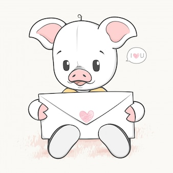 Śliczna dziecko świnia z list miłosny cartoon wyciągnąć rękę