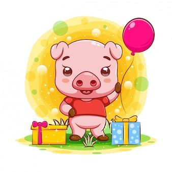 Śliczna dziecko świnia z wieloma prezentami