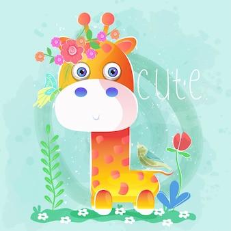 Śliczna dziecko żyrafa z kwiatami i ptakami