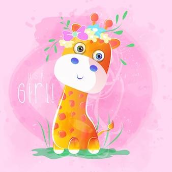 Śliczna dziecko żyrafa z kwiatami
