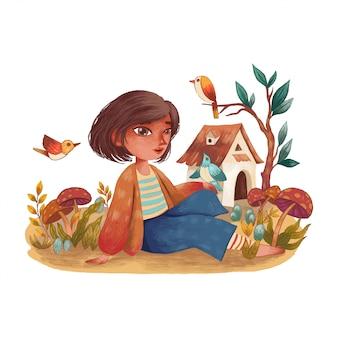 Śliczna dziewczyna bawi się ptakami