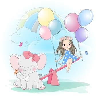 Śliczna dziewczyna bawić się huśtawkę z małym słoniem