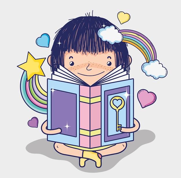 Śliczna dziewczyna czyta fantazi książkę