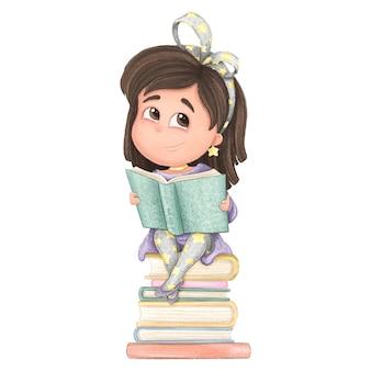 Śliczna dziewczyna czyta książkę. ilustracja kreskówka