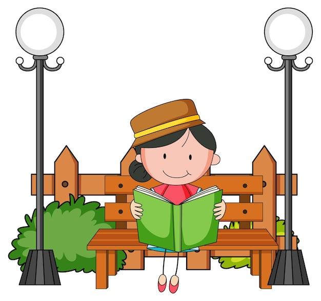 Śliczna dziewczyna czytająca książkę doodle postać z kreskówki