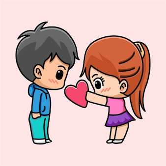 Śliczna dziewczyna daje serce jej chłopaka ilustracja kreskówka