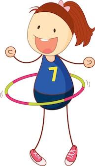 Śliczna dziewczyna gra postać z kreskówki hula-hoop w ręcznie rysowane stylu doodle na białym tle