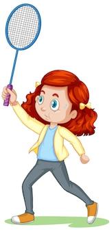 Śliczna dziewczyna gra w badmintona postać z kreskówki na białym tle