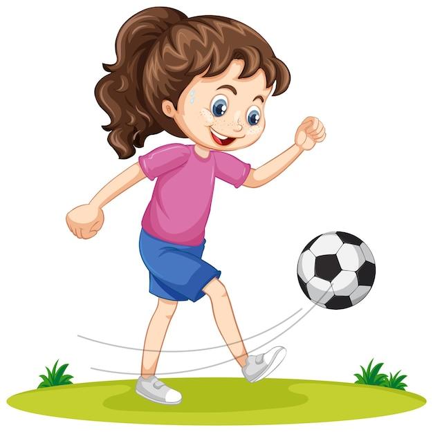 Śliczna dziewczyna gra w piłkę nożną postać z kreskówki na białym tle