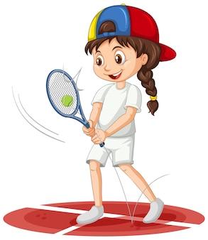 Śliczna dziewczyna gra w tenisa postać z kreskówki na białym tle