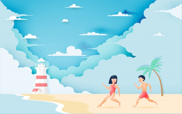 Śliczna dziewczyna i chłopiec z piękną plażą