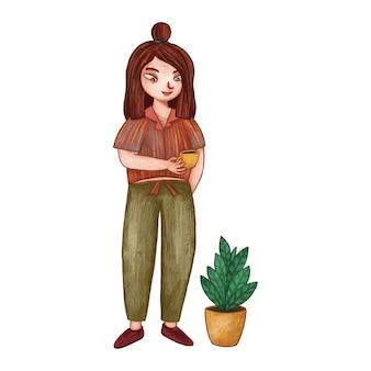 Śliczna dziewczyna ilustracja z trzymaniem filiżanki kawy