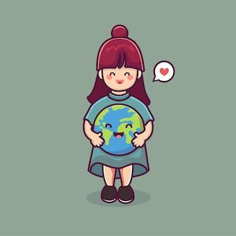 Śliczna dziewczyna kreskówka trzymaj planetę ziemia kreskówka