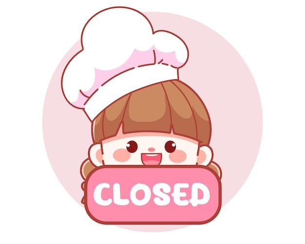 Śliczna dziewczyna kucharz trzyma czerwony zamknięty znak transparent logo ilustracja kreskówka sztuki