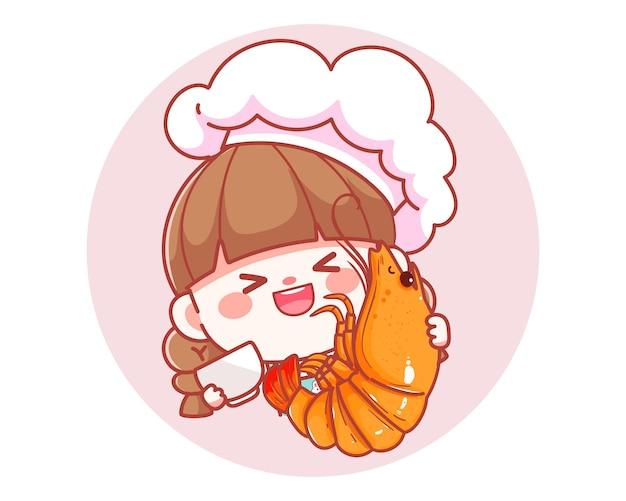 Śliczna dziewczyna kucharz trzyma krewetki owoce morza banner logo ilustracja kreskówka sztuki