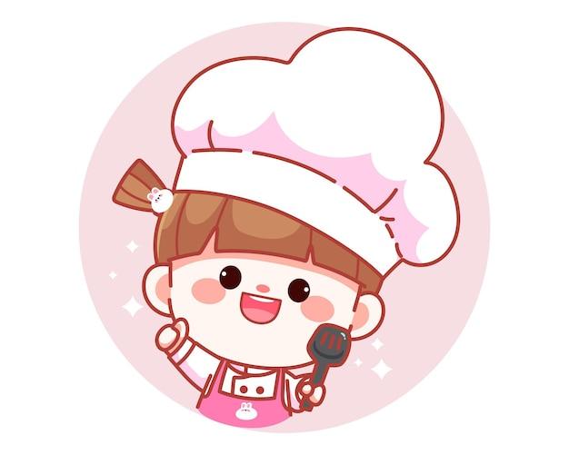 Śliczna dziewczyna kucharz trzyma szpatułkę transparent logo ilustracja kreskówka sztuki