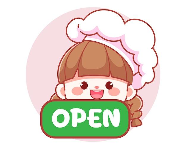 Śliczna dziewczyna kucharz trzyma zielony otwarty znak transparent logo ilustracja kreskówka sztuki