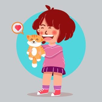 Śliczna dziewczyna miłośnik kotów z kotem ilustracja kreskówka