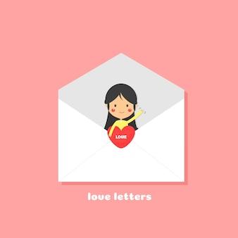 Śliczna dziewczyna mówi kocham ciebie listem, listu miłosnego pojęcie.