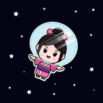 Śliczna dziewczyna nosi sukienkę kimono unoszącą się na ilustracji kreskówki kosmicznej
