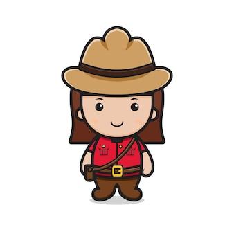 Śliczna dziewczyna postać obchodzona ilustracja dzień kanady