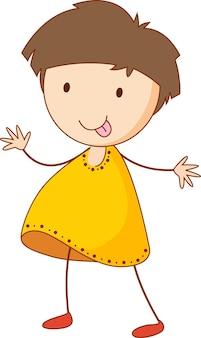 Śliczna dziewczyna postać z kreskówki w ręcznie rysowane stylu doodle na białym tle