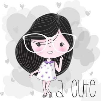 Śliczna dziewczyna ręka rysująca ilustracja