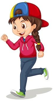 Śliczna dziewczyna robi bieganie postać z kreskówki na białym tle