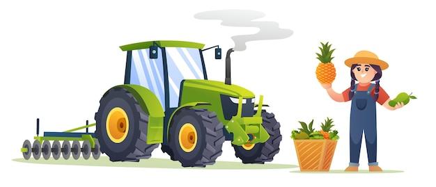 Śliczna dziewczyna rolnik ze świeżymi owocami i ilustracją ciągnika