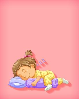Śliczna dziewczyna śpi postać z kreskówki na białym tle
