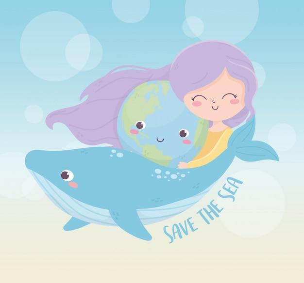 Śliczna dziewczyna środowiska wieloryba morze środowiska ekologia