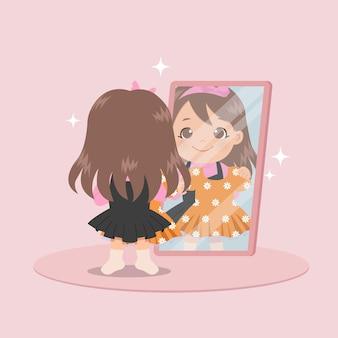 Śliczna dziewczyna stojąca przed lustrem przymierza nową sukienkę. kobieta przebiera się. płaska konstrukcja