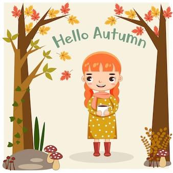Śliczna dziewczyna szczęśliwa z jesień sezonem.