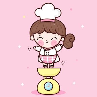 Śliczna dziewczyna szefa kuchni kreskówka na ważeniu maszyny kawaii logo piekarni sklep