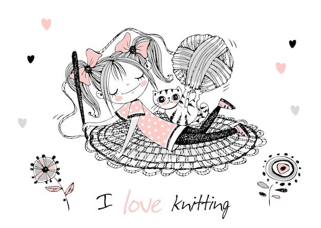 Śliczna dziewczyna szwaczka szydełkuje dywan